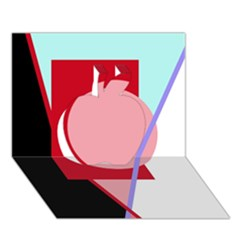Decorative geomeric abstraction Apple 3D Greeting Card (7x5)