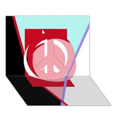 Decorative geomeric abstraction Peace Sign 3D Greeting Card (7x5)