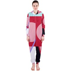Decorative geomeric abstraction Hooded Jumpsuit (Ladies)