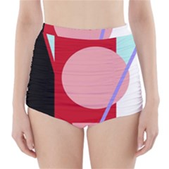 Decorative geomeric abstraction High-Waisted Bikini Bottoms