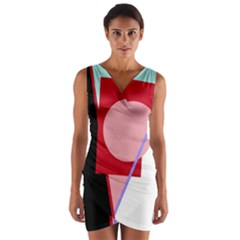 Decorative geomeric abstraction Wrap Front Bodycon Dress