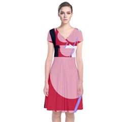 Decorative geomeric abstraction Short Sleeve Front Wrap Dress