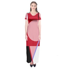 Decorative geomeric abstraction Short Sleeve Maxi Dress
