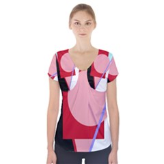 Decorative geomeric abstraction Short Sleeve Front Detail Top