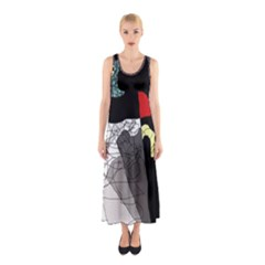 Decorative abstraction Sleeveless Maxi Dress