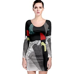 Decorative abstraction Long Sleeve Bodycon Dress