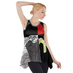 Decorative abstraction Side Drop Tank Tunic