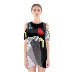 Decorative abstraction Cutout Shoulder Dress