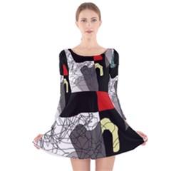 Decorative abstraction Long Sleeve Velvet Skater Dress
