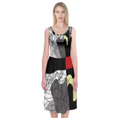 Decorative abstraction Midi Sleeveless Dress