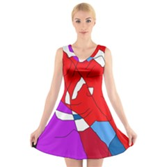 Colorful Abstraction V Neck Sleeveless Skater Dress