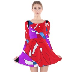 Colorful abstraction Long Sleeve Velvet Skater Dress