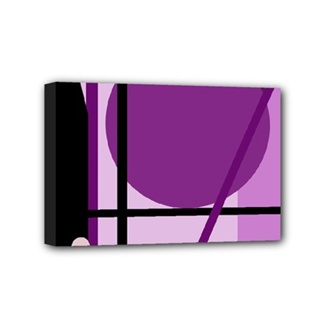 Purple geometrical abstraction Mini Canvas 6  x 4