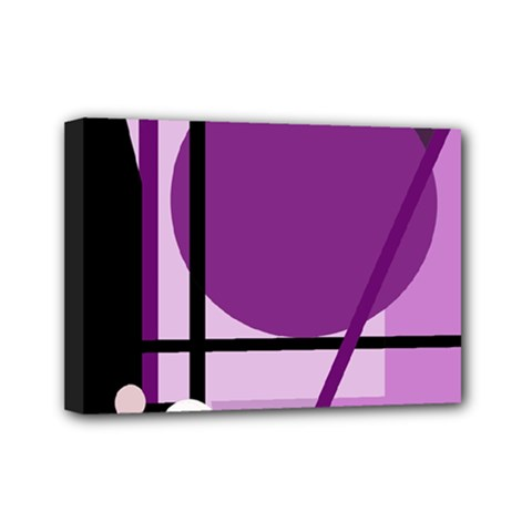 Purple geometrical abstraction Mini Canvas 7  x 5