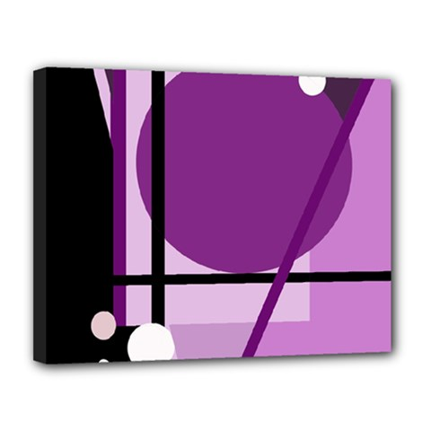 Purple geometrical abstraction Canvas 14  x 11