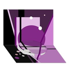 Purple geometrical abstraction Circle Bottom 3D Greeting Card (7x5)