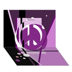 Purple geometrical abstraction Peace Sign 3D Greeting Card (7x5)