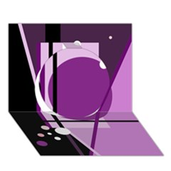 Purple geometrical abstraction Circle 3D Greeting Card (7x5)