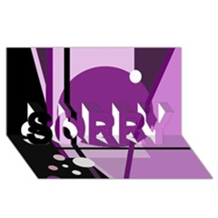 Purple geometrical abstraction SORRY 3D Greeting Card (8x4)