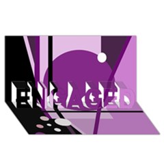 Purple geometrical abstraction ENGAGED 3D Greeting Card (8x4)