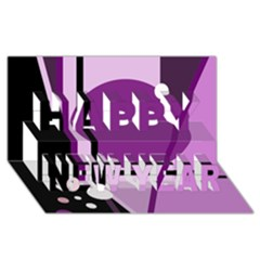 Purple geometrical abstraction Happy New Year 3D Greeting Card (8x4)