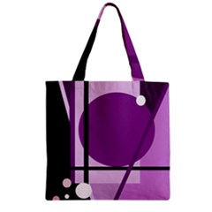 Purple geometrical abstraction Zipper Grocery Tote Bag