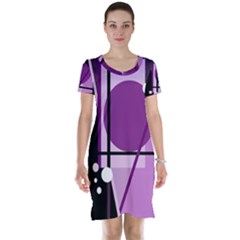 Purple geometrical abstraction Short Sleeve Nightdress