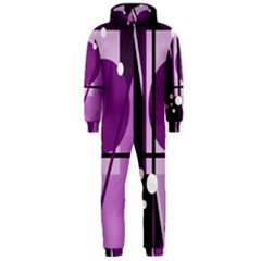 Purple geometrical abstraction Hooded Jumpsuit (Men)