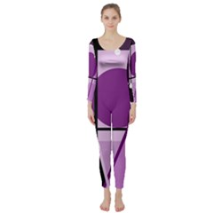 Purple geometrical abstraction Long Sleeve Catsuit