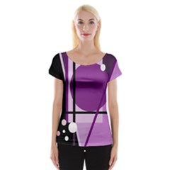 Purple geometrical abstraction Women s Cap Sleeve Top