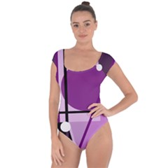 Purple geometrical abstraction Short Sleeve Leotard