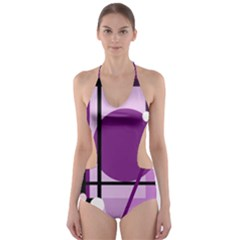 Purple geometrical abstraction Cut-Out One Piece Swimsuit