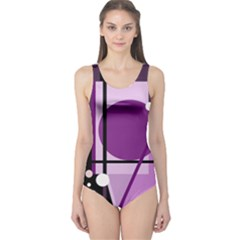 Purple geometrical abstraction One Piece Swimsuit
