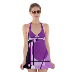 Purple geometrical abstraction Halter Swimsuit Dress