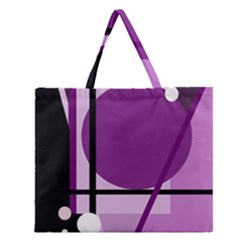 Purple geometrical abstraction Zipper Large Tote Bag