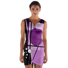 Purple Geometrical Abstraction Wrap Front Bodycon Dress