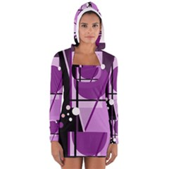Purple Geometrical Abstraction Women s Long Sleeve Hooded T Shirt