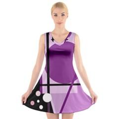 Purple geometrical abstraction V-Neck Sleeveless Skater Dress