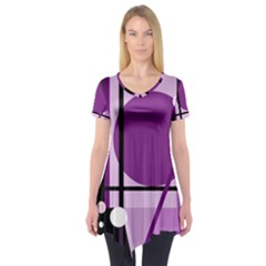 Purple geometrical abstraction Short Sleeve Tunic