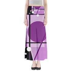 Purple Geometrical Abstraction Maxi Skirts