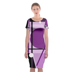 Purple geometrical abstraction Classic Short Sleeve Midi Dress