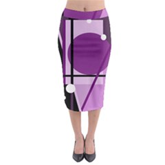 Purple geometrical abstraction Midi Pencil Skirt