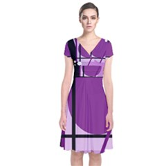 Purple geometrical abstraction Short Sleeve Front Wrap Dress