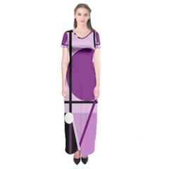 Purple Geometrical Abstraction Short Sleeve Maxi Dress