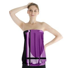 Purple geometrical abstraction Strapless Top