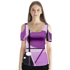 Purple Geometrical Abstraction Butterfly Sleeve Cutout Tee