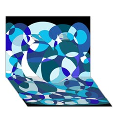 Blue abstraction Heart 3D Greeting Card (7x5)