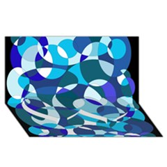 Blue abstraction Twin Heart Bottom 3D Greeting Card (8x4)