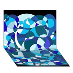 Blue abstraction Circle 3D Greeting Card (7x5)