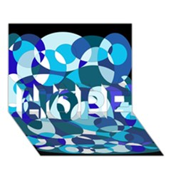 Blue abstraction HOPE 3D Greeting Card (7x5)